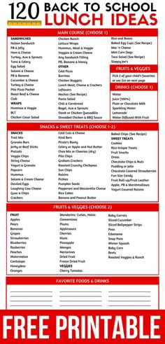 These back to school lunch ideas for kids are so EASY! Over 120 combinations of kids lunches! Meal Prep for moms & kids! kids lunch 120 Easy Kid Friendly Lunch Ideas For School Back To School Lunch Ideas, Healthy School Lunches, Cheap School Lunches, Easy Lunches For Kids, School Lunch Prep, School Ideas, School Lunch Recipes, School Snacks For Kids, Diy Back To School