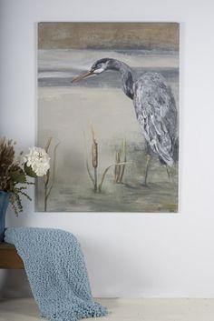 The Blue Heron Acrylic on Plaster 36 x 48 Artist Canvas Wildlife Paintings, Blue Heron, Artist Canvas, Plaster, Decorating Ideas, Gypsum, Plaster Of Paris, Room Decorations