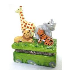 Animals in the Jungle Lion Tiger Elephant Giraffe Hinged Trinket Box by Art Gifts. $8.98. approx. 3-1/2 inches high x 2-3/4 in. x 1-3/4 in.. keepsake treasure box. Porcelain. Animals in the Jungle Lion Tiger Elephant Giraffe Hinged Trinket Box