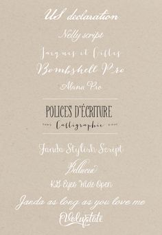 Lovely fonts for download, some free, some for purchase... Polices d ecriture - Mariage - La mariee aux pieds nus.