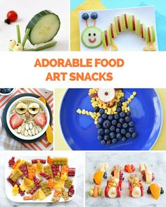10 easy adorable and healthy food art snacks for kids. Yummy Snacks, Healthy Snacks, Healthy Recipes, Kid Snacks, Healthy Kids, Cute Food, Good Food, Food Art For Kids, Food Kids