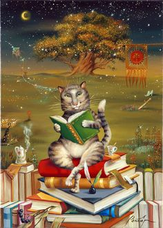 Whimsical reading cat ... with tea./Artist: Unknown
