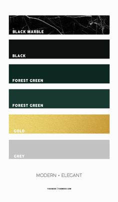 black marble forest green and gold color combos, black and forest green color schemes, black and gold color schemes, forest green and black color, green forest and gold color palette Green Color Pallete, Color Schemes Colour Palettes, Gold Color Scheme, Green Color Schemes, Green Palette, Color Combos, Forest Green Bedrooms, Green Rooms, Bedroom Green