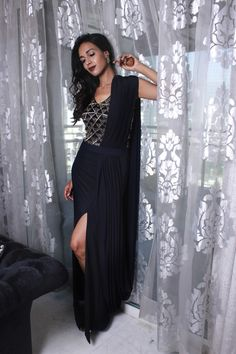 Midnight blue pearl and salli embroidered drape gown