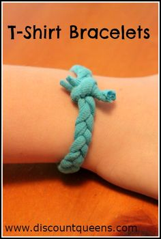 Discount Queens: Need something for your kids to do?? Need a quick activity for a youth group? Here is a quick craft, great for teens and tweens! T-Shirt Bracelets!