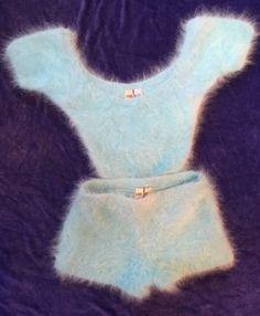 Türkis blau Angora Hotpants Twinset von ShanieJacobsAngora auf Etsy
