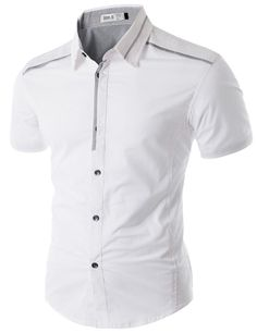 Doublju Casual Short Sleeve Shirt with Piping Detail Half Shirts, Plain Shirts, Polo T Shirts, African Dresses Men, African Men Fashion, Mens Semi Formal Outfit, Kurta Pajama Men, Mens Tailor, Mens Designer Shirts