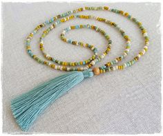 Tassel necklace s @ Bright new Penny ... glass bead necklace with blue sage tassel. Visit us on Etsy .. Pinterest .. Instagram  @Brightnewpenny to see our full range of tassel necklaces