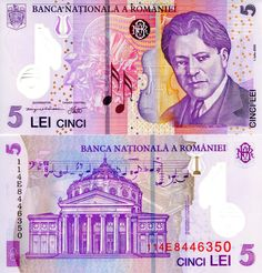 5 Lei Romania 🇷🇴 2005 George Enescu (musico composer) on front Bank Account Balance, Shadow Images, Money Notes, Foreign Coins, Pet Birds, World, Dollar Bills, Louis Xvi, Scientists
