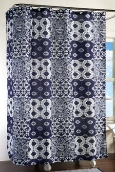 Westbrook Navy & White Bathroom Shower Curtain By Collections Etc: Amazon.com: Home & Kitchen