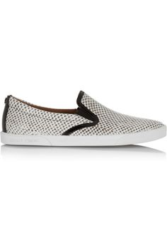 優花提供したスニーカー。 JIMMY CHOO Demi snake-effect leather slip-on sneakers