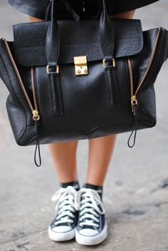 Phillip Lim bag #E4Fphotography - We love the contrast between the casual shoes and the expensive bag. A very clever idea!