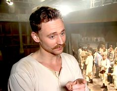 Tom Hiddleston as The Great Escapo in Muppets Most Wanted (2014). Behind the scenes