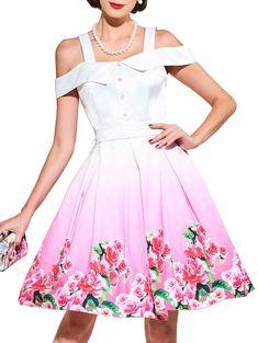120a9a06a9e2 Cold Shoulder Floral Printed Belted Dress · Summer Dresses ...