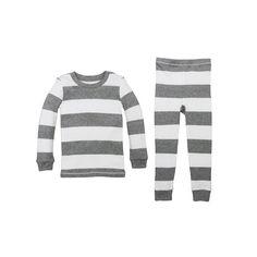 Toddler Burt's Bees Baby Organic Rugby Stripe Pajama Set, Kids Unisex, Size: 2T, Light Grey