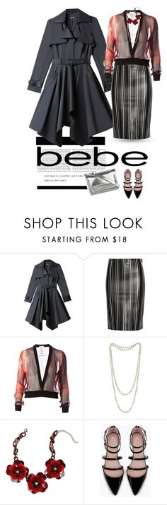 """""""Destination Runway with bebe"""" by clothesmonkey ❤ liked on Polyvore featuring moda, Bebe, Title A, Givenchy, Zara, Kershaw, Marni e beiconic"""