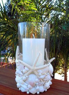 Beachcomber Seashell Candleholder, DIY and Crafts, DIY Ideas With Sea Shells - Beachcomber Seashell Candleholder - Best Cute Sea Shell Crafts for Adults and Kids - Easy Beach House Decor Ideas With San. Seashell Art, Seashell Crafts, Beach Crafts, Diy Crafts, Starfish, Crafts With Seashells, Diy Sommerprojekte, Seashell Decorations, Seashell Centerpieces