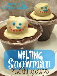 Melting Snowman Pudding Cups