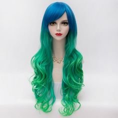 17.72$  Watch now - http://dim3j.justgood.pw/go.php?t=171763701 - Fluffy Wavy Blue Green Gradient Gorgeous Long Side Bang Synthetic Party Wig For Women