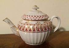 Antique 18th century English Worcester Porcelain Tea Pot Gold White George III