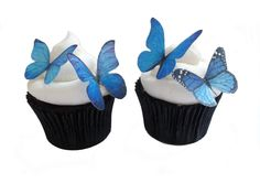 Petty BUTTERFLY CAKE toppers - 24 Blue Edible Butterflies - Edible Cupcake Decorations, Cake Accessory Supply, Destination Wedding. $9.50, via Etsy.
