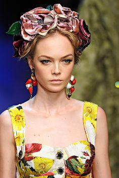 flower girl dolce and gabbana spring 2012- flower headband, charms as earrings