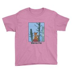 Winter Fox Boys and Girls Short Sleeve T-Shirt by Kate Jay XS-XL