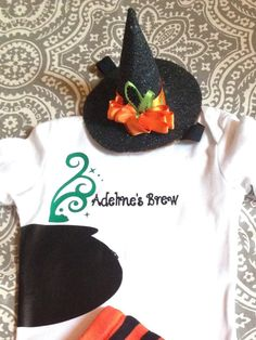 Baby Personalized Halloween Outfit with Witch's Hat Headband
