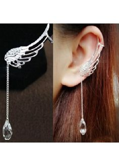 Wing Shaped Silver Crystal Pendant Decorated Metal Earrings | Rosewe.com - USD $6.94