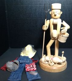 "14"" Tall Zims Unpainted Farmer Nutcracker Kit Christmas Heirloom Unfinished Wood"