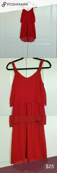 NEW! Holiday Red Flutter Dress @tea_n_yoga at Poshmark   BNWT Red Flutter Dress   NOTE - Color is more like a Christmas red or cherry red.  Hi-Lo dress, lined, and the back us like the front.   100% Polyester Dresses