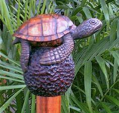 Turtle Walking Stick | Honu (Turtle) Hawaiian Walking Stick Just Keep Walking, Walking Sticks And Canes, Turtle Love, Beavers, Wood Carvings, Wands, Hawaiian, Wicked, Fantasy
