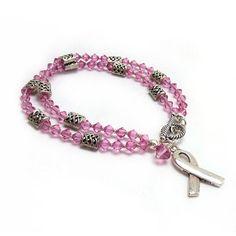 Breast Cancer Awareness Bracelet - Multistrand Bracelet - Pink Swarovski Crystals