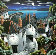 Callaghan Prints :: CALLAGHAN, George Irish (b1941)_Moonlit Village