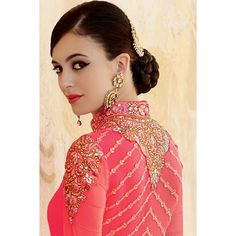 New arrival, Anarkali churidar georgette indian suit, Pink hand embroidered andaaz party wear now in shop. Andaaz Fashion brings latest designer ethnic wear collection in US