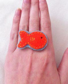 Felt Orange Goldfish Ring - Ladies Rings - Needlecraft - Fun Jewelry Fish Jewelry Funky Jewelry - Nadias Jewellery. £8.00, via Etsy.