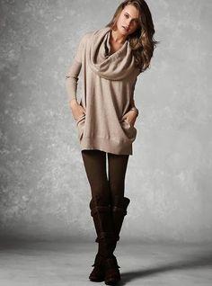 Multi way tunic sweater plus leggings and boots | Women Fashion Galaxy