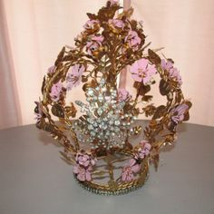 Large gold metal tole crown French inspired by AnitaSperoDesign, $280.00