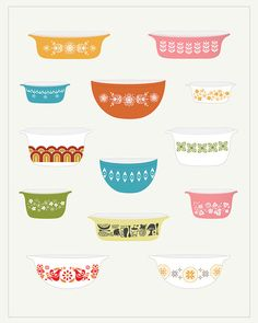 vintage pyrex by calobee on Etsy (Art & Collectibles, Prints, blue, yellow, drawing, kitchen, pink, beige, green, brown, whimsical, cute, vintage, Pyrex, decor)