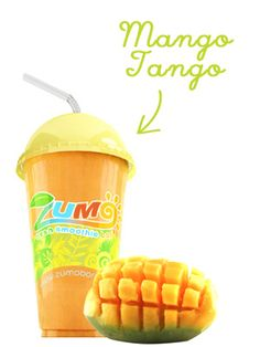 ZUMO SMOOTHIE/JUICE BAR MANGO TANGO - Tantalising mix of mango, freshly squeezed 100% orange juice, fat free milk and fresh low fat probiotic yoghurt.