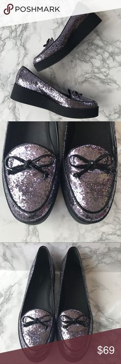 Bernardo Purple Sequin Platform Loafers Size 8 Bernardo Purple Sequin Platform Loafers Size 8 Shake things up and throw these sequined platform loafers into your ever evolving style mix! Slip on style-up makes them easy to wear without sacrificing style! The sequin sparkle will be a surefire attention grabber. Preowned from a smoke free home, in excellent used condition, with some wear on the soles as shown. Check out the other items in my closet and create your own custom bundle! Bernardo…