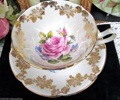 COLLINGWOODS TEA CUP AND SAUCER PINK ROSE CENTERS & GOLD GILT CUP & SAUCER