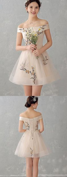 Such a sweet dress. New Arrival Appliques Flowers Cheap Prom Homecoming Dresses Party Gowns ,Off the Shoulder lace back up Prom Dress,Sexy Graduation Dresses,Short Cocktail Dresses Hoco Dresses, Pretty Dresses, Beautiful Dresses, Cheap Dresses, Event Dresses, Spring Formal Dresses, 1950s Dresses, Winter Dresses, Formal Gowns