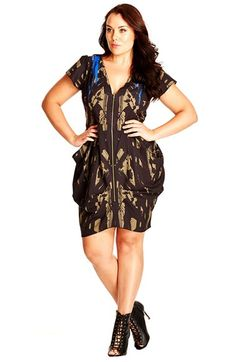 City Chic Front Zip Pleat Print Tunic (Plus Size) available at #Nordstrom