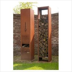 log burning patio heater and wood storage - Appeltern garden, Holland