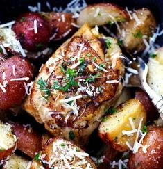 SLOW COOKER PARMESAN GARLIC HERB CHICKEN AND POTATOES