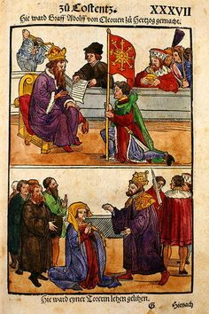 Illustration: King Sigismund raises Count Adolph of Cleves to rank of Duke at the Council of Constance, the ecumenical council of the Roman Catholic Church held in 1414-1418. - Adolf I of Cleves was Duke of Cleves (1417-1448) and Count of Cleves (1394-1448) and Count of the Marck (1398-1448). His second wife was Marie of Burgundy (1393-1463), daughter of John the Fearless, Duke of Burgundy. Ecumenical Council, Anne Of Cleves, King Henry Viii, Second Wife, Book Catalogue, Historical Art, Kaiser, Roman Catholic, Medieval