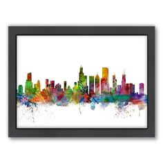 Americanflat Michael Tompsett ''Chicago Skyline I'' Framed Wall Art, Multicolor