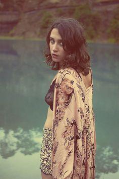 Songbird Kimono Saffron Floral - Arnhem Clothing