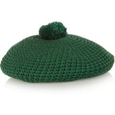 Gucci Crocheted cotton beret (5,200 MXN) ❤ liked on Polyvore featuring accessories, hats, green, crochet beret, gucci hat, beret hat, cotton beret and green beret hat